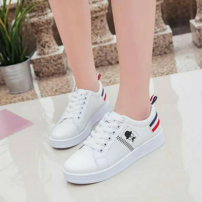 harga Sepatu kets france kumis/sepatu wanita kets casual kumis tb-828 putih Tokopedia