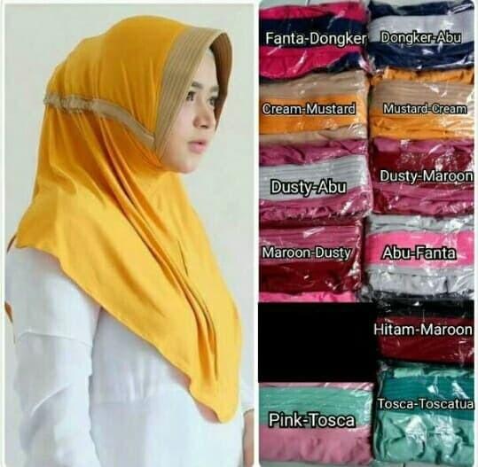 Jual Jilbab Serut 2 Warna Kerudung Syari Jilbab Hijab Syari Kombinasi Kota Semarang Shopmeida Tokopedia