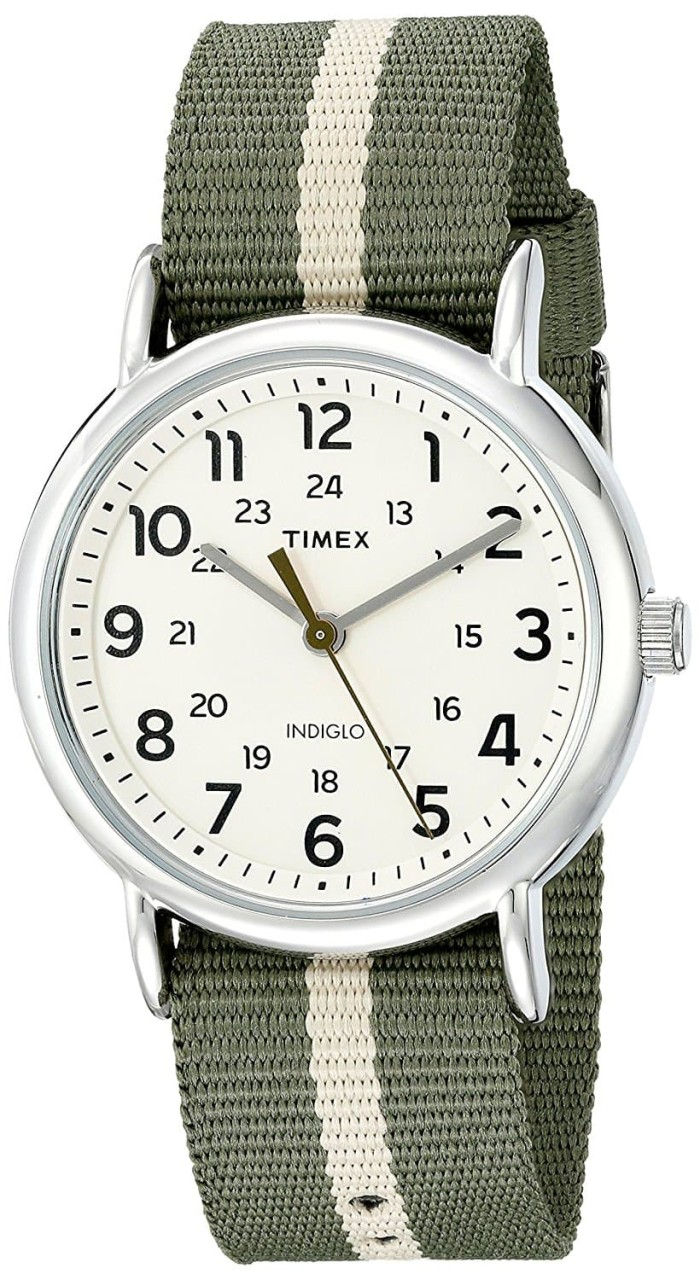 harga Timex men's tw2p72100 weekender reversible green/tan stripe nylon slip Tokopedia.com