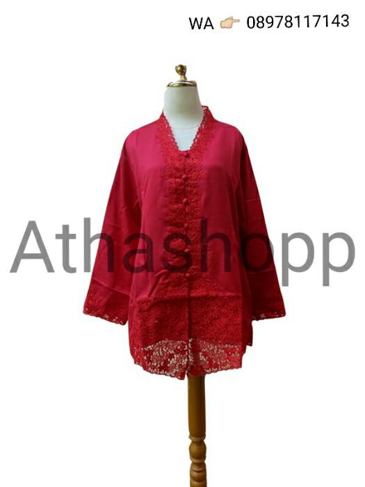 Foto Produk Kebaya Modern Encim Lengan Panjang Jumbo Big 5L/6L Merah Bordir Polos dari Atha's