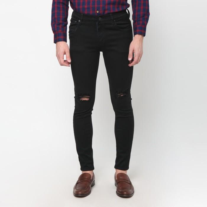 harga Mentli celana jeans skinny pria - black ripped - hitam 32 Tokopedia.com