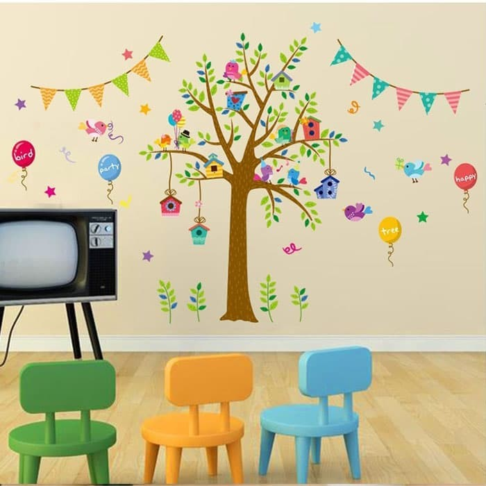 jual wall stiker 60x90 xl8181 party tree walstiker wallsticker