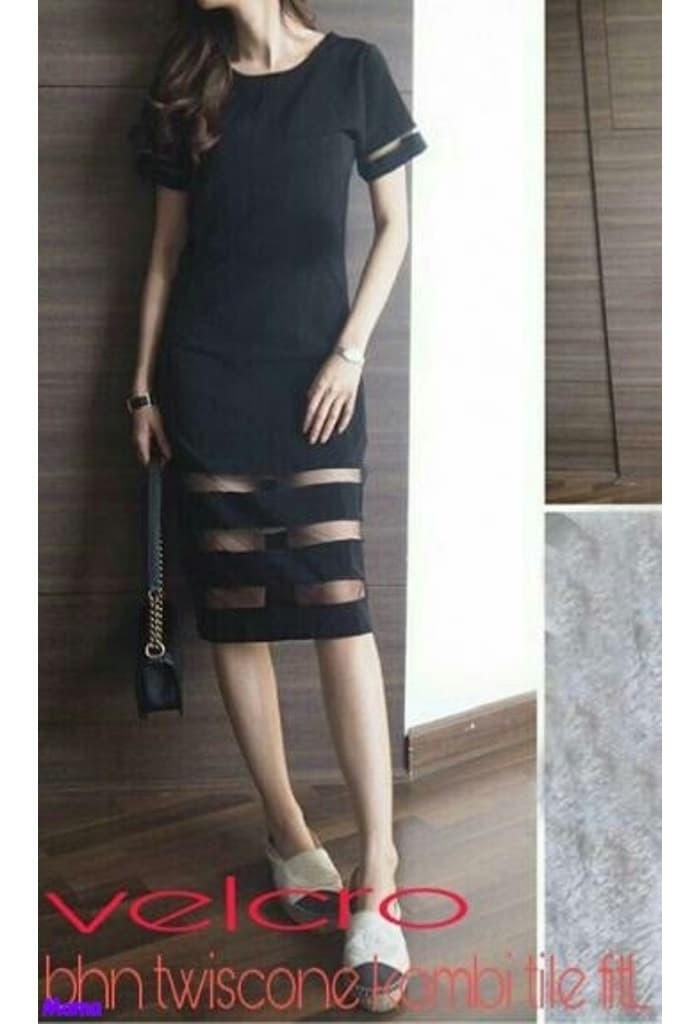 Velcro dress/Dress hitam/Mini Dress/Dress wanita casual/Dress polos/SN