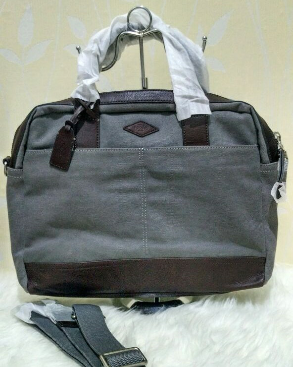 harga Fossil wyatt workbag canvass grey original . tas laptop fossil ori Tokopedia.com