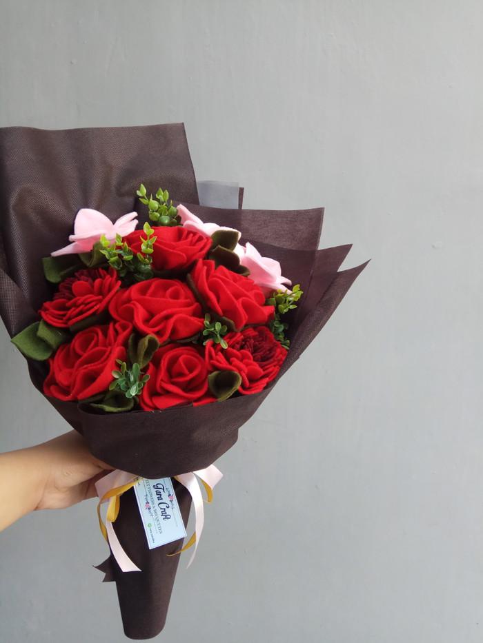 Jual Buket Bunga Flanel Besar Warna Merah Tara Craft Kab Banyumas Kecilmungil Tokopedia