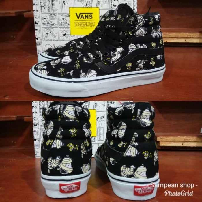 Sepatu vans sk8 hi high PEANUTS GLOW MUMMIES black white like original b6a8b7178e
