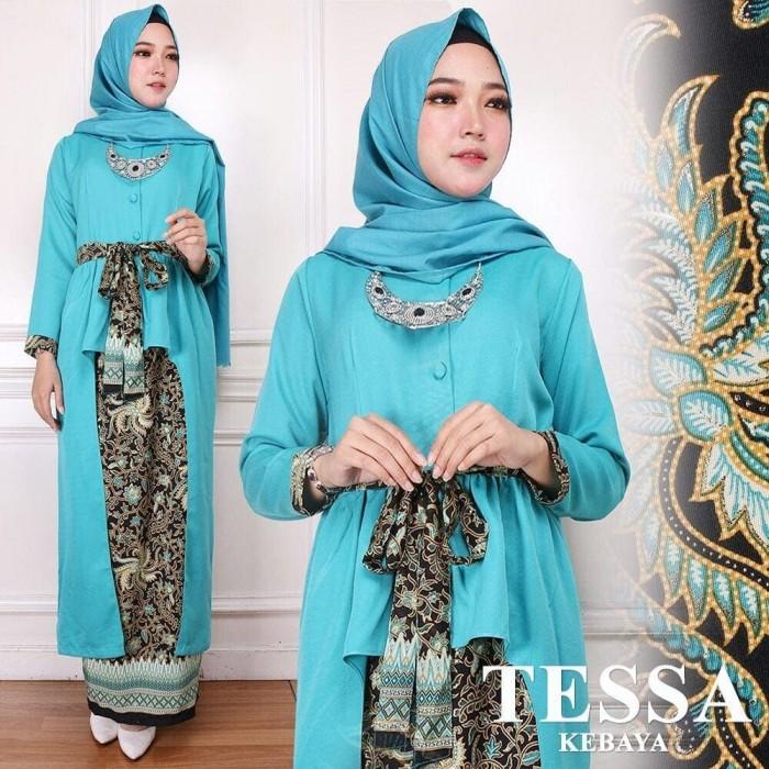 Jual Kebaya Panjang Batik Model Kebaya Muslim Tesa Kebaya Biru Dki Jakarta Sarika Fashion Muslim Tokopedia