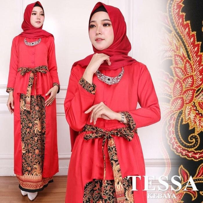 Jual Kebaya Panjang Batik Model Kebaya Muslim Tesa Kebaya Merah Sarika Fashion Muslim Tokopedia