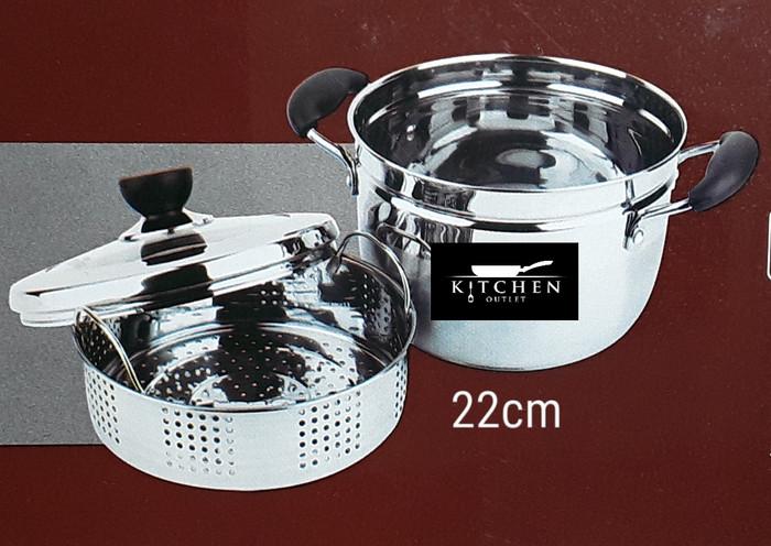 Panci kukus steamer kukusan dandang stainless 22 cm