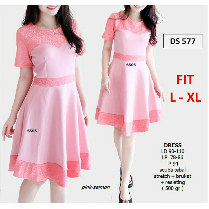 harga Ds 577 dress scuba import mix lace fanta merah biru brukat Tokopedia.com