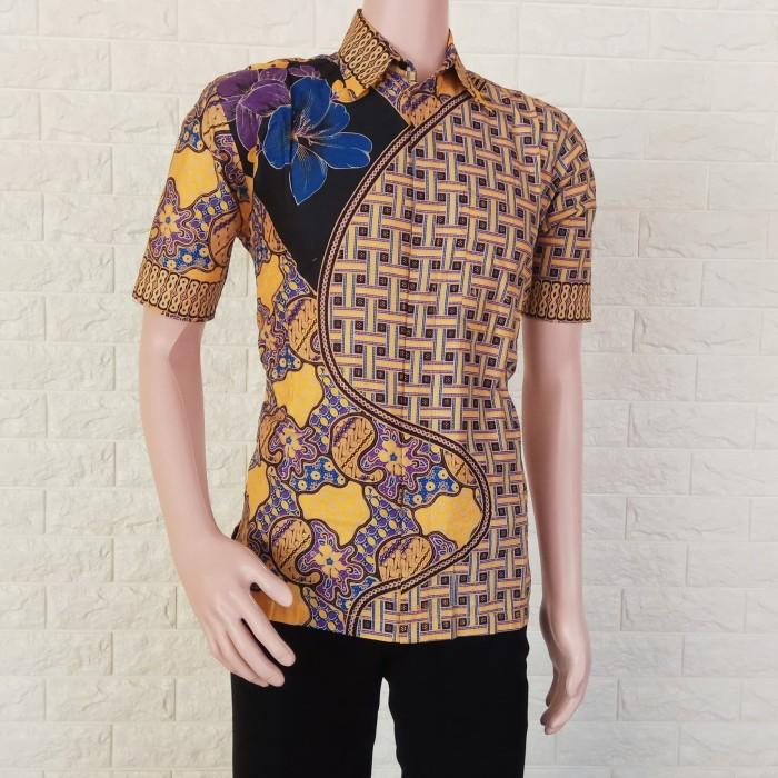 Jual Baju batik kemeja batik pria batik bunga anyam - Navy b6ace26277