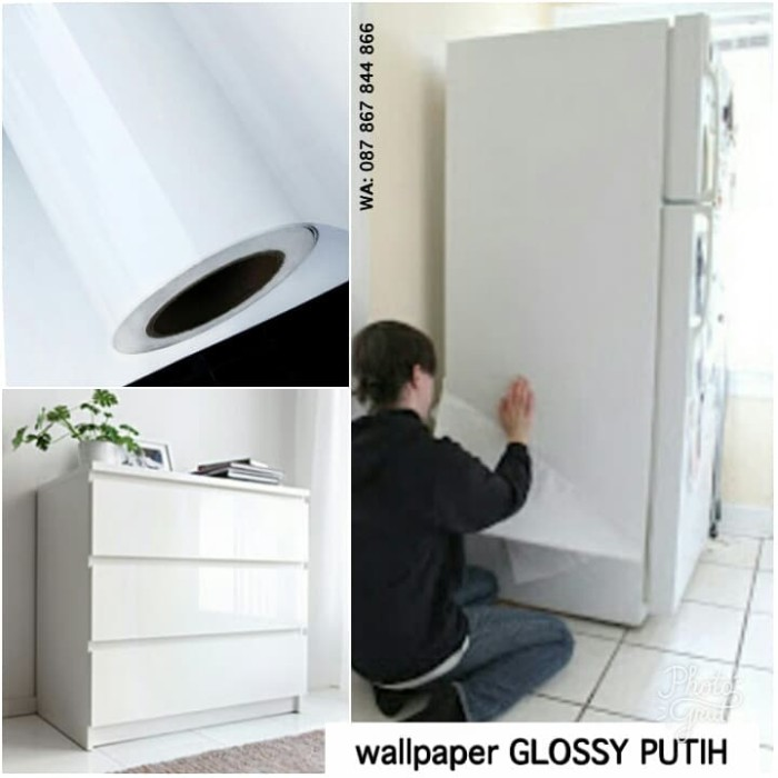 jual wallpaper sticker glossy putih polos murah wallstiker white