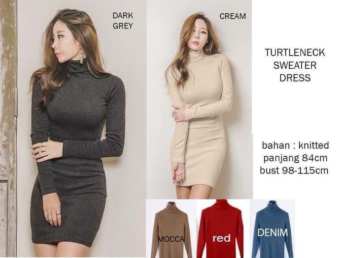 harga Turtleneck sweater dress Tokopedia.com