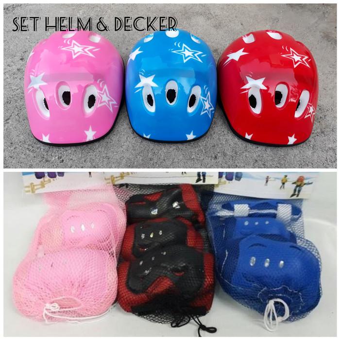 harga Set helm sepeda sepatu roda anak & dekker lutut - deker knee - decker Tokopedia.com