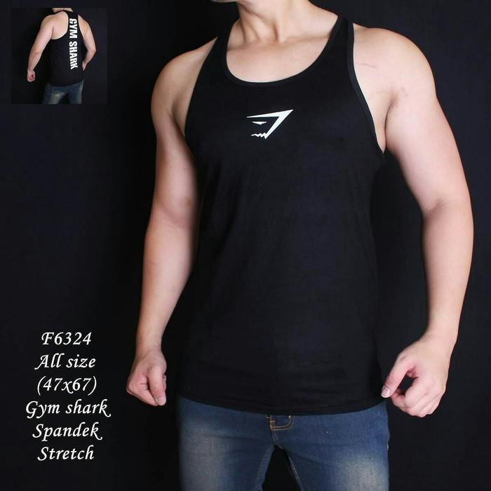 harga Sale kaos singlet pria gym shark hitam Tokopedia.com