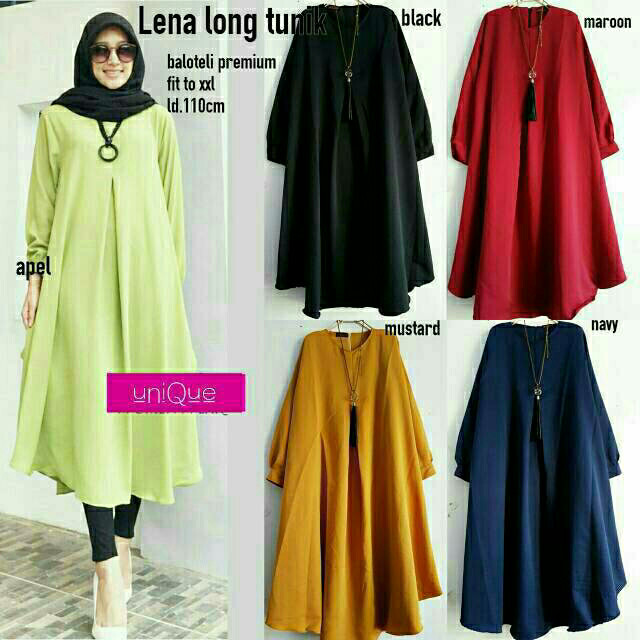 Fashion muslim dress gamis lena long tunik wolfis