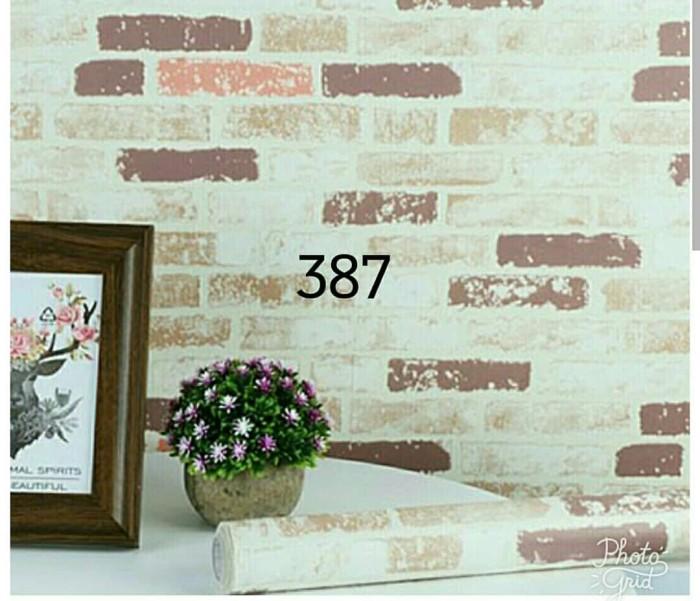 jual wallpaper sticker murah bata putih pink merah 10 meter - kota