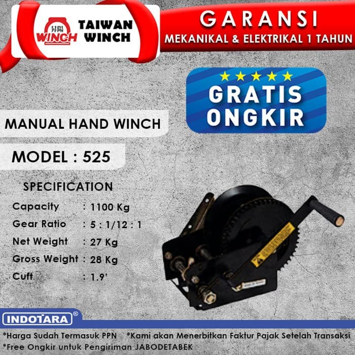 harga Taiwan winch manual hand winch 525 Tokopedia.com