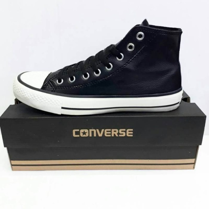 Jual Sepatu Pria - Converse Ct All Star Hi Kulit Black White - Go ... 9d6ddd5f0e