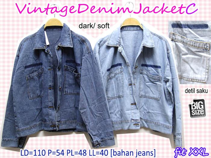 harga Vintage denim jacket c jaket jeans basic casual super big jumbo xxl  2l Tokopedia. 503a63108f