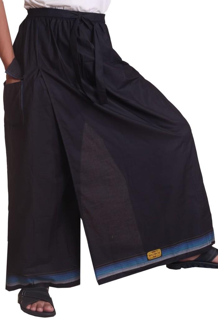 Sarung celana / celana sarung wadimor polos hitam list biru eksklusif