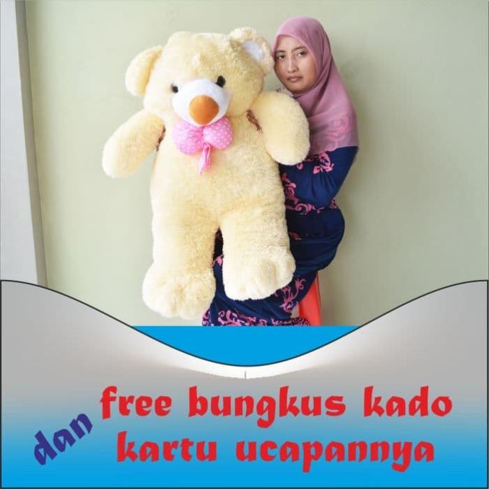 harga Boneka teddy bear besar pita cream uk.85cm Tokopedia.com