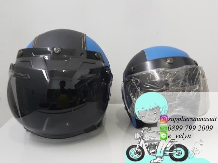 Helm Bogo Kulit Doraemon Couple / Retro / Blue 2