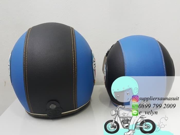 Helm Bogo Kulit Doraemon Couple / Retro / Blue 4