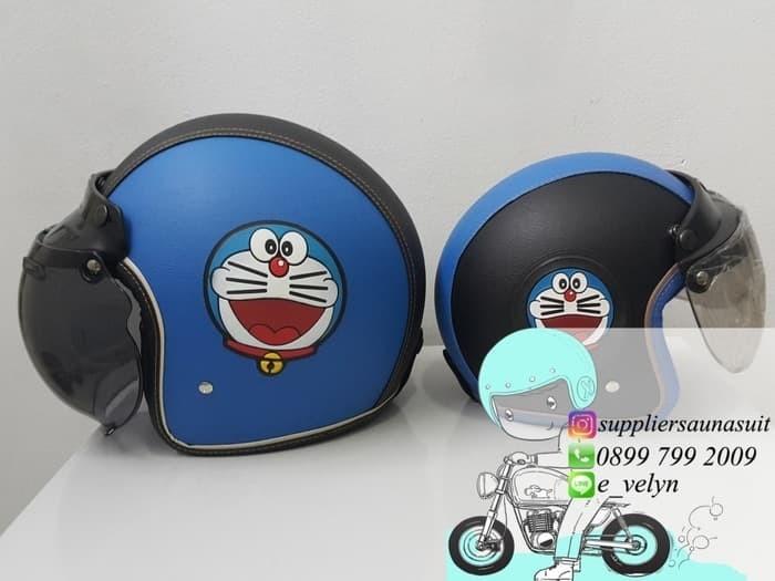 Helm Bogo Kulit Doraemon Couple / Retro / Blue 3