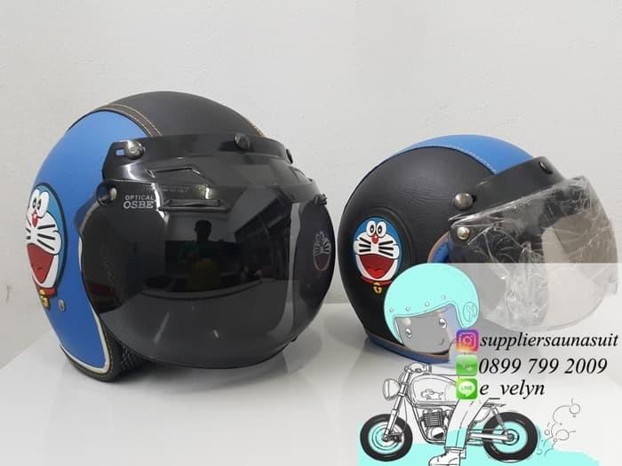 Helm Bogo Kulit Doraemon Couple / Retro / Blue 1