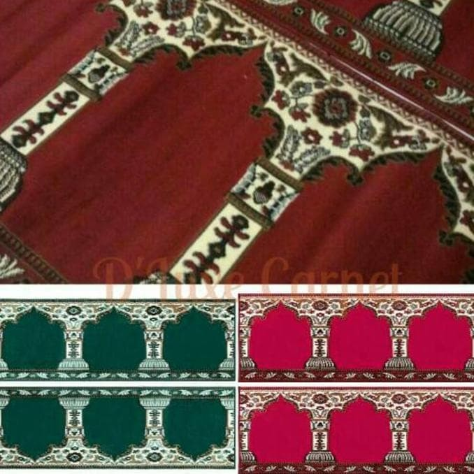 Karpet Sajadah Roll motif Mesjid, Pillar dan Polos 105 x 570