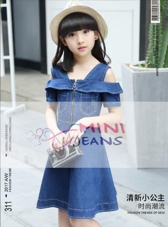 Baju Anak Perempuan Dress Pesta Anak Sabrina Jeans Navy - 5th