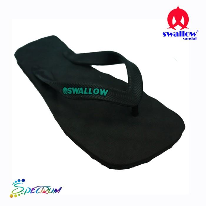 Sandal Swallow Premium Spectrum Pria - Logo Tosca - Hitam, 38