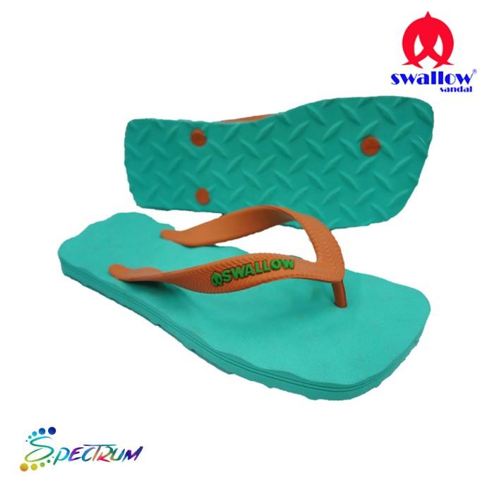 Sandal Swallow Premium Spectrum Pria GreenMint – Tali Orange - Hijau Tosca, 38