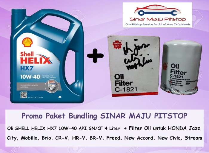 Paket Oli Mobil SHELL HELIX HX7 SEGEL ORI Filter HONDA CITY