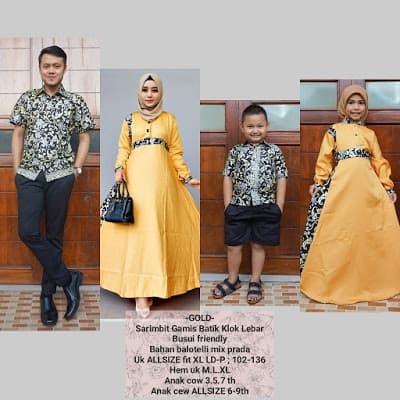 Sarimbit gamis batik keluarga bahan balotelli kombi prada warna gold - Emas