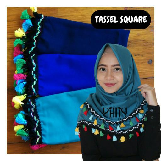 Parisku TASSEL Hijab Segiempat Katun Premium