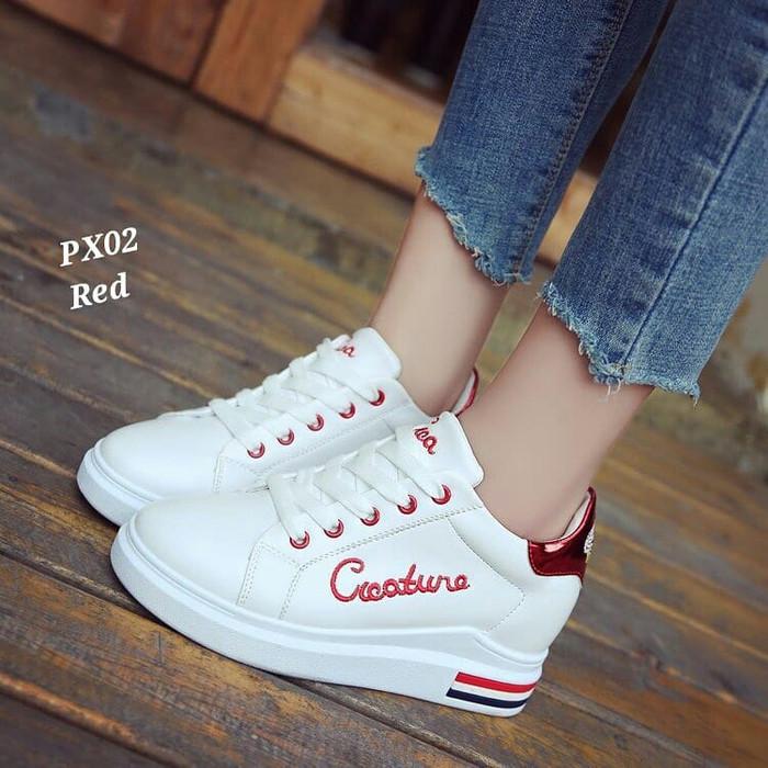 harga Murah sepatu wanita sneakers merahcewek sekolah kerja kuliah senam Tokopedia.com