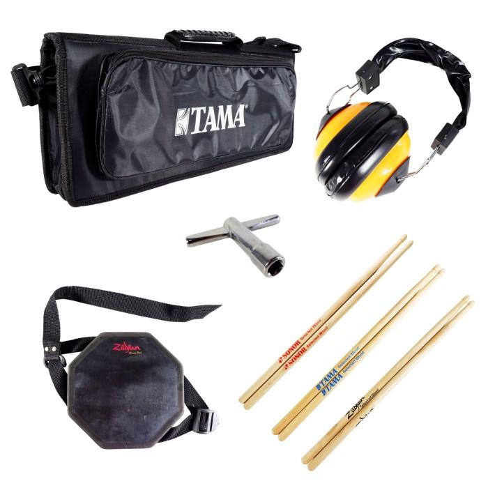 harga Tas softcase tama + earmuff + drum pad 6  + kunci drum + stick (3 pcs) Tokopedia.com