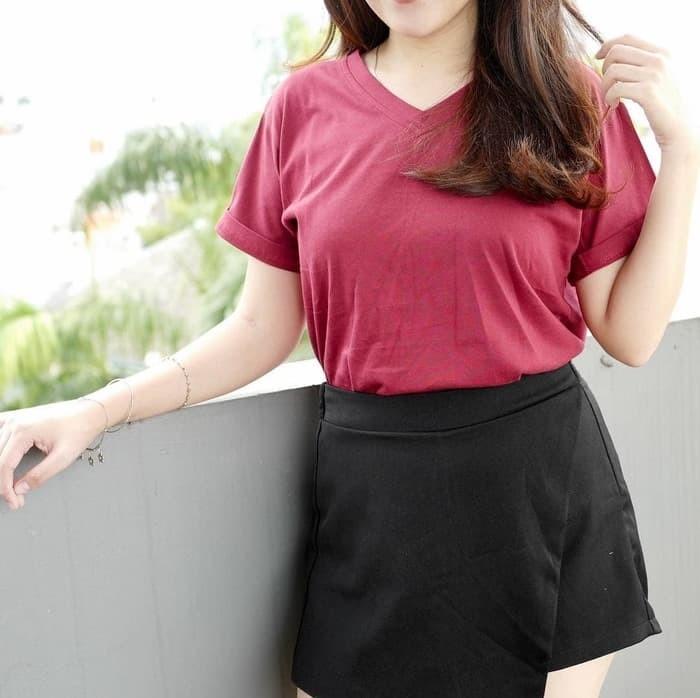 harga Baju kaos polos v neck untuk cewe t-shirt cotton Tokopedia.com