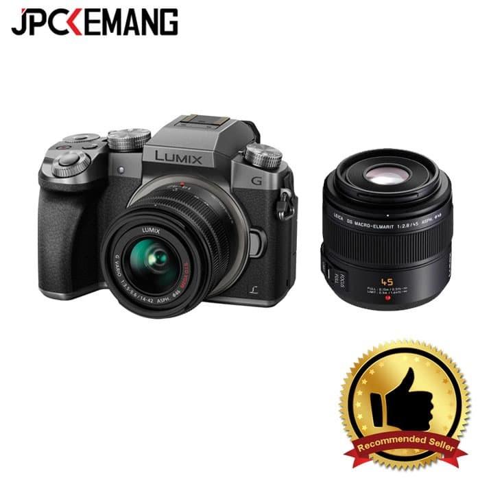harga Panasonic g7 kit 14-42 (silver) + panasonic leica 45mm f/2.8 Tokopedia.com