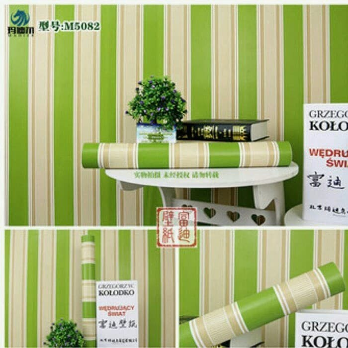 jual wallpaper sticker garis hijau murah line green walpaper dinding