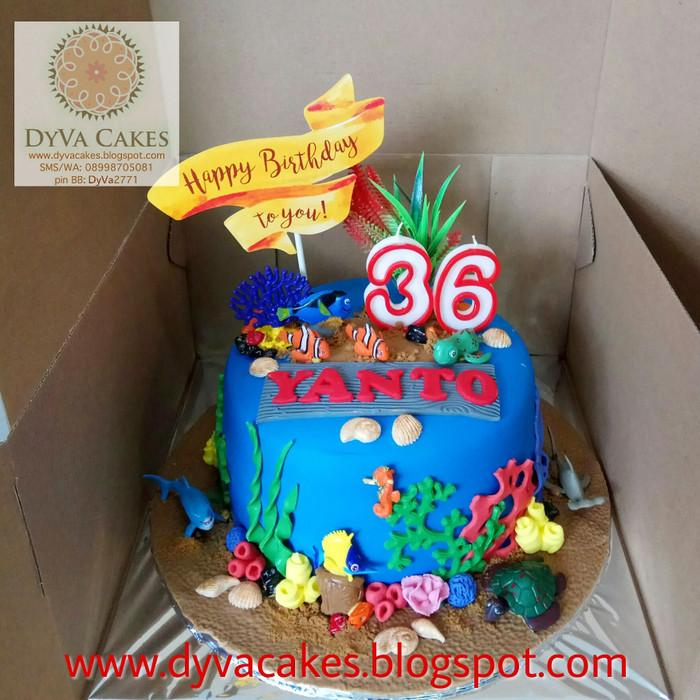 Stupendous Jual Finding Nemo Sea Aquarium Birthday Cake Fondant Dia 18Cm Funny Birthday Cards Online Necthendildamsfinfo