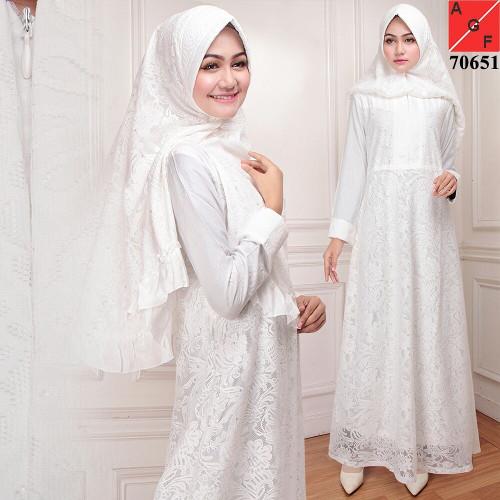 ... harga Gamis putih brukat premium busana muslim pesta pernikahan terbaru  Tokopedia.com 3bccb7c668