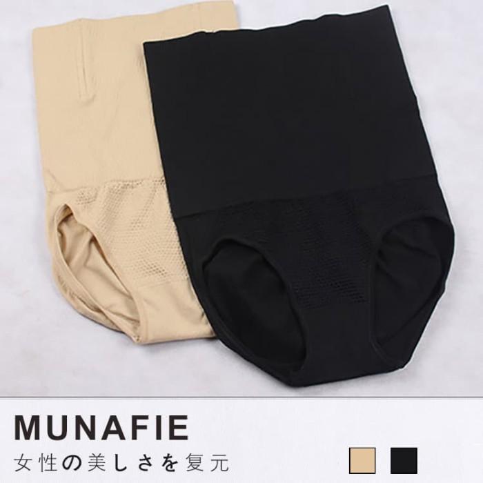 Munafie Hight Waist Slim Pants + Fiber [ TANPA RENDA ] New GEN 2 - Hitam, M-L