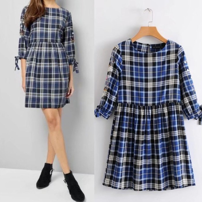 harga Mini dress gaun sexy blue sweet grid (s) import original Tokopedia.com