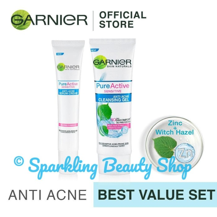 [set] garnier pure active sensitive anti acne cleansing gel + cream