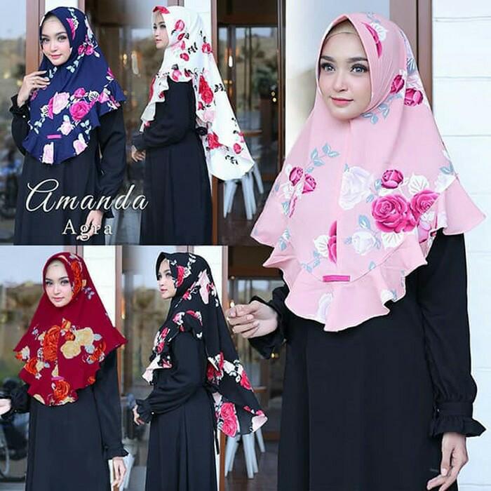 Amanda agra/jilbab instant pet motif bunga dan rempel depan