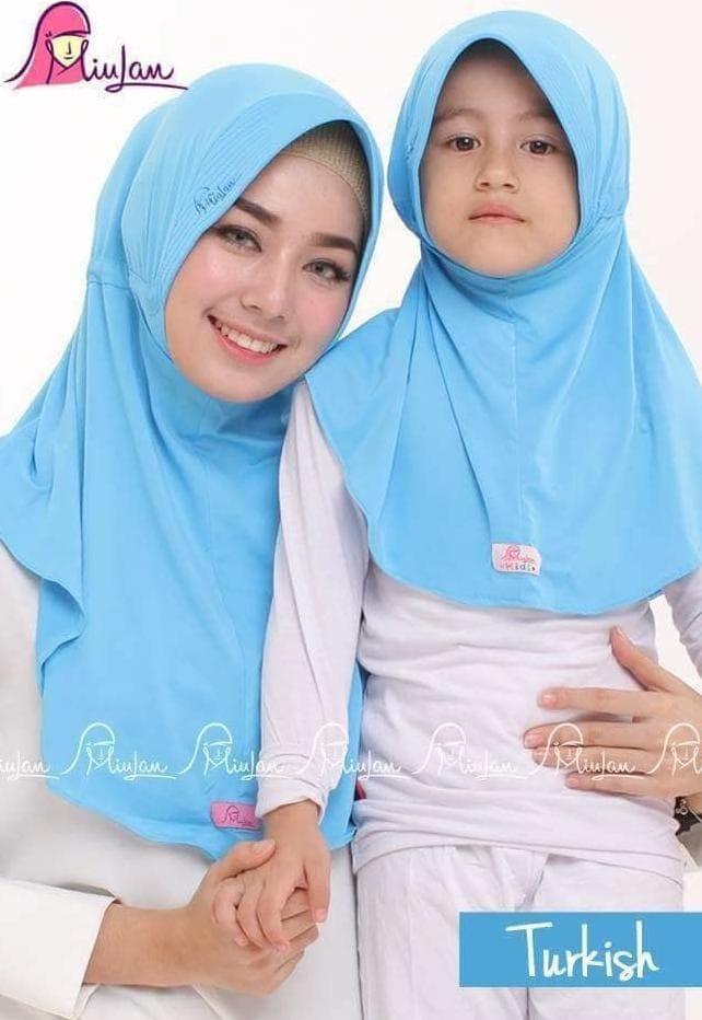 MiuLan Bergo Hijab Jilbab Kerudung Couple Ibu Anak Adem PLAIN LAURA
