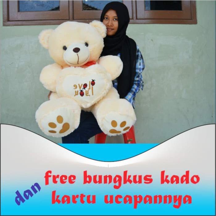 Jual Boneka Teddy Bear Love Besar Jumbo Kualitas SNI - Kadoanda ... d0420b6076
